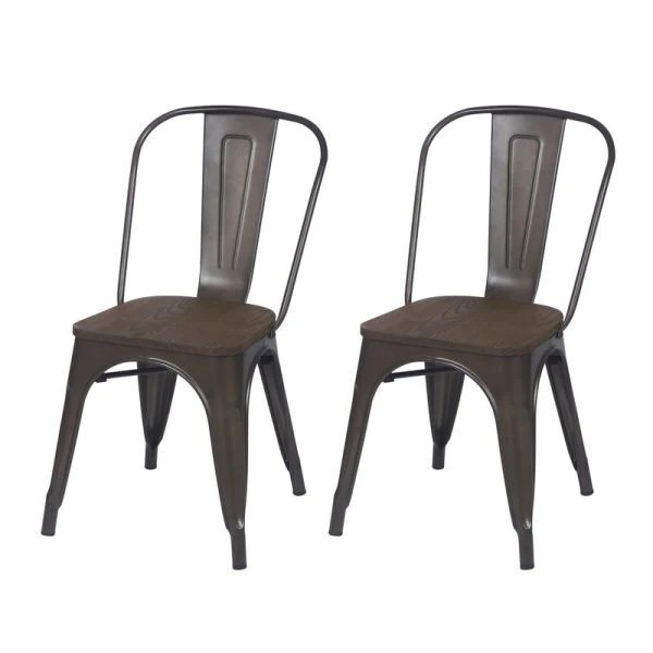 Farmhouse Industrial Bronze Metal Dining Chairs With