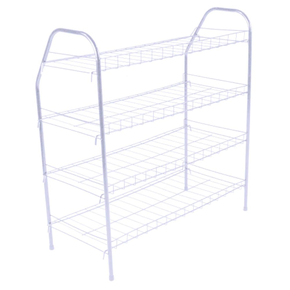 athome entryway 4 tier shoe shelf storage organizer super space saving stackable metal shoe rack tower for closet cabinet entryway white