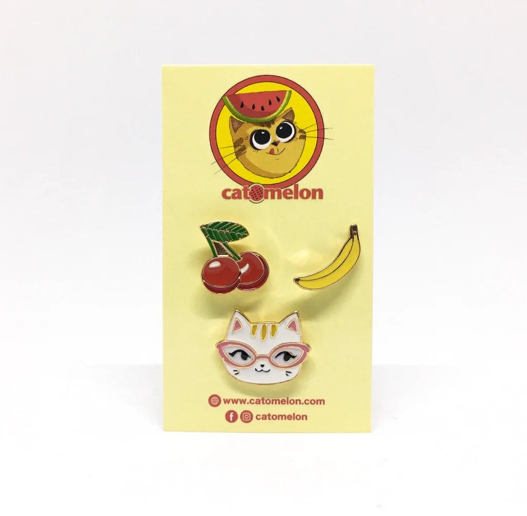 fruity cat pin set