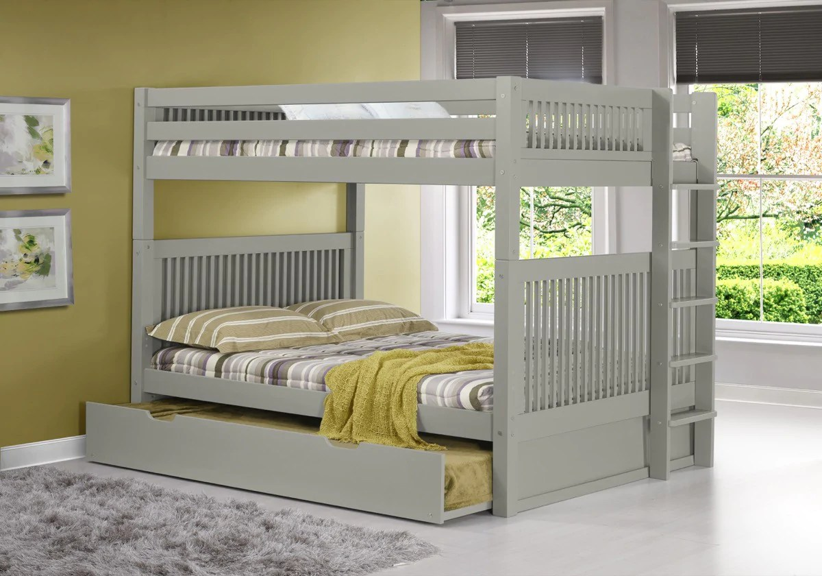 Camaflexi Full Over Full Bunk Bed With Trundle Mission Headboard B Hipbeds Com