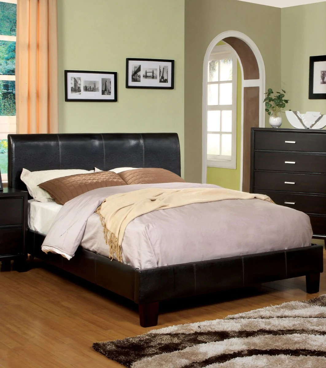Furniture Of America Ethan Queen Size Leatherette Platform Bed Espresso Hipbeds Com