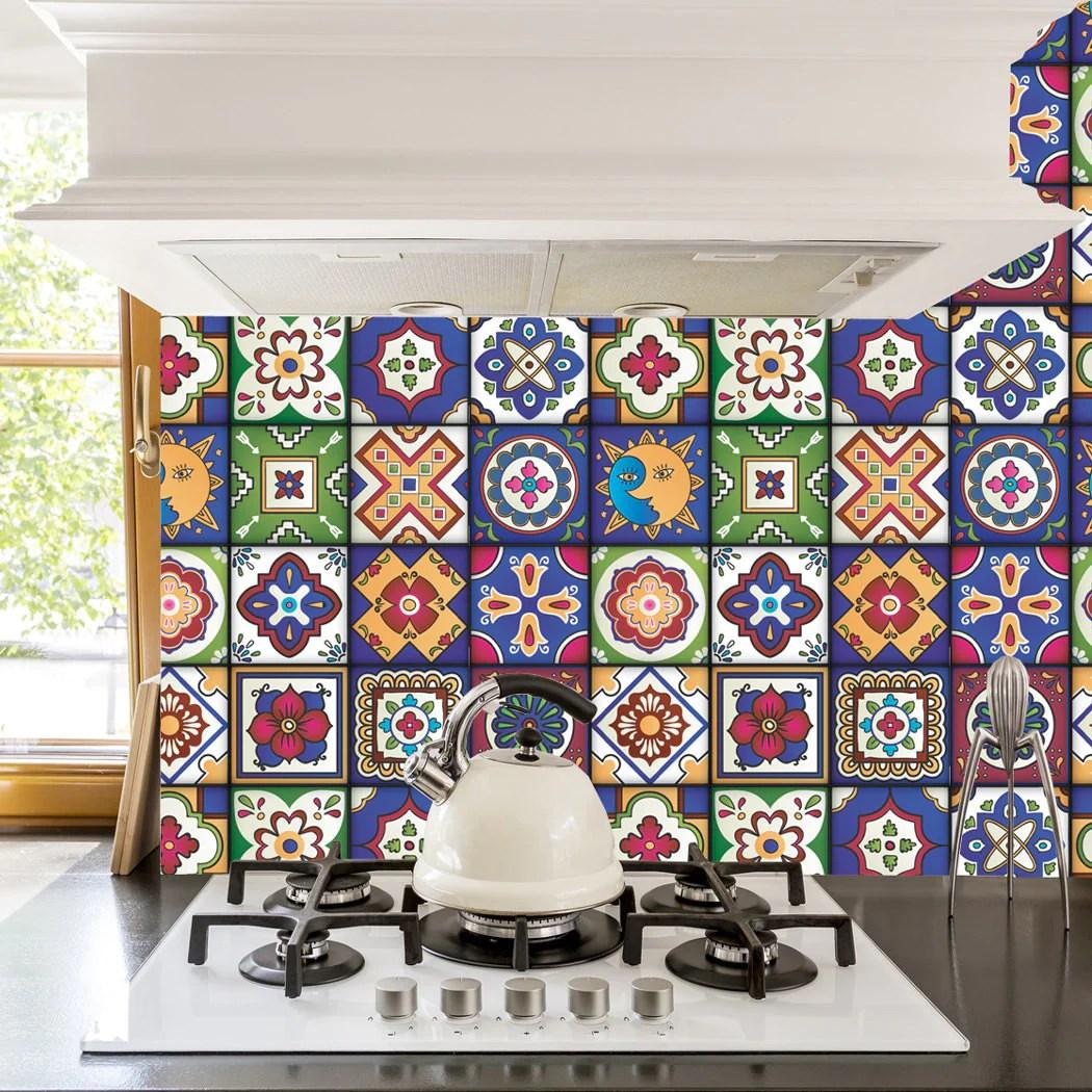 mexican tiles stickers set of 16 tiles tile decals art for walls kitchen backsplash bathroom