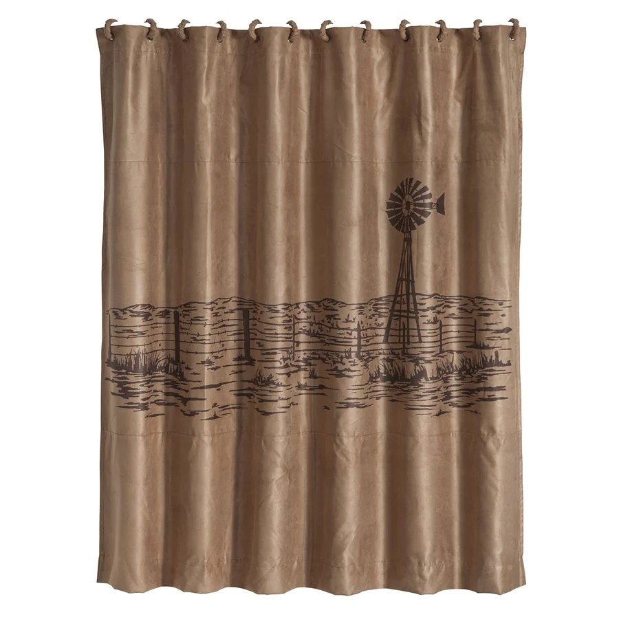 windmill landscape western embroidered shower curtain