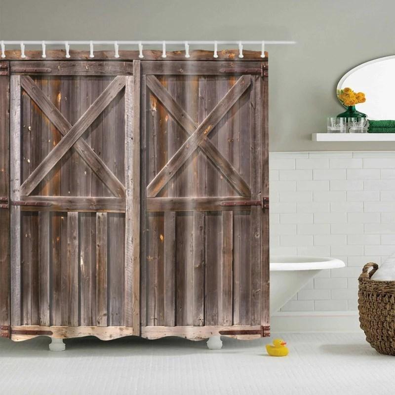 old wooden barn door rustic shower curtain