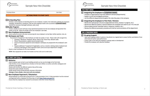 Sample New Hire Checklist for Small Business – Pioneer Coaching LLC
