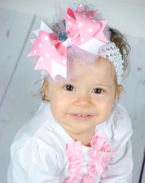 pink hearts tulle girls hair
