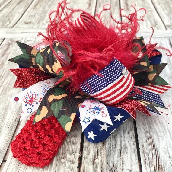 patriotic camo hair bow american