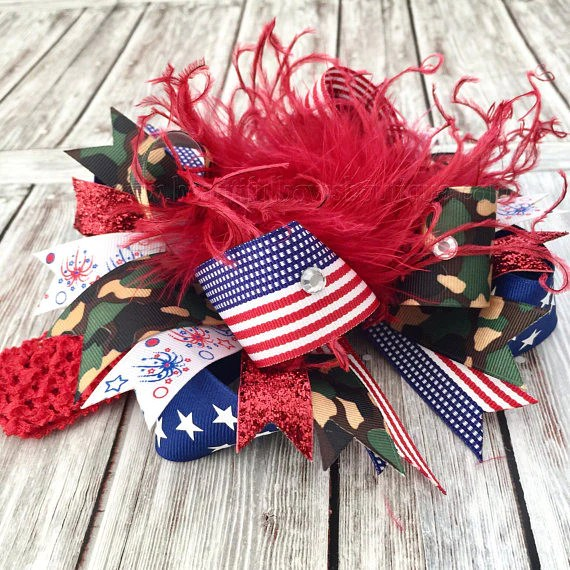 patriotic camo hair bow american
