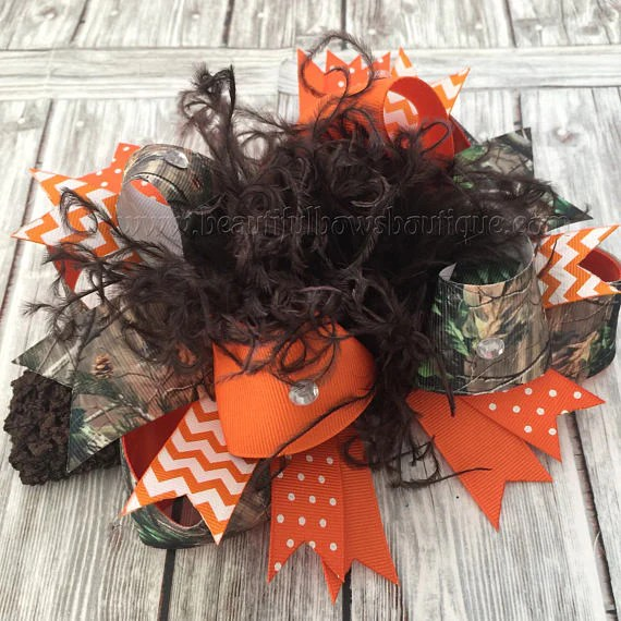 orange camo hair bow realtree