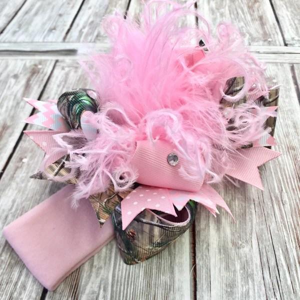 pink camo hair bow realtree