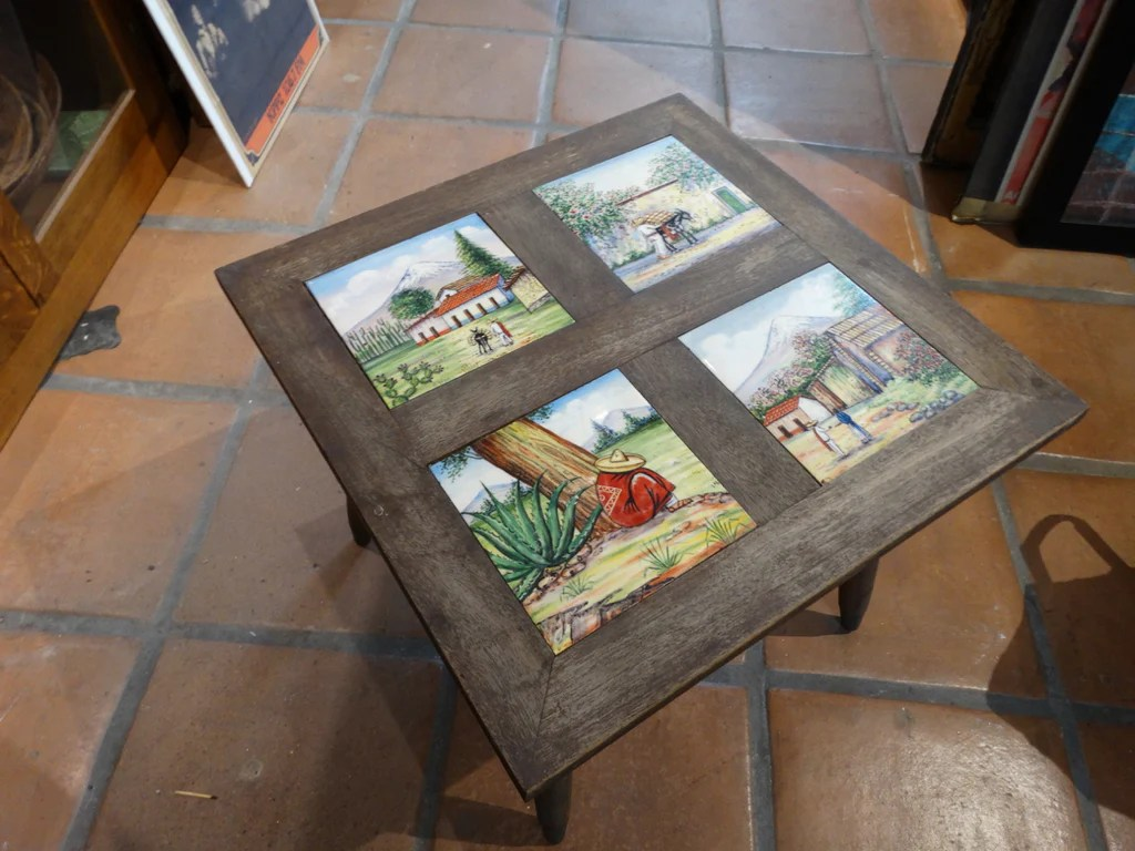 mexican painted tile top table 1950s