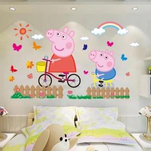 pig peppa stickers wall