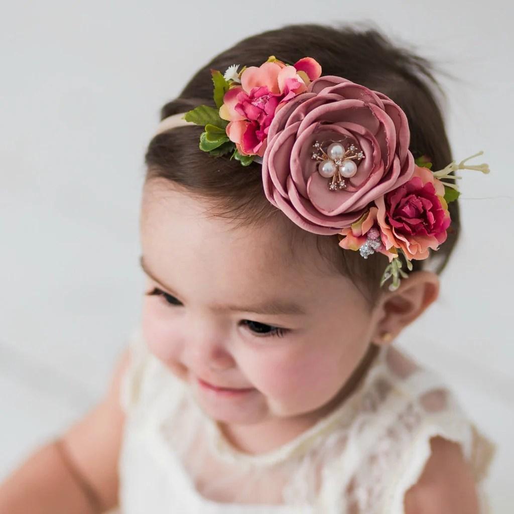Flower Nylon Headband. Nylon Headbands. Baby Girls Headbands. Flower C – Needles Knots n Bows