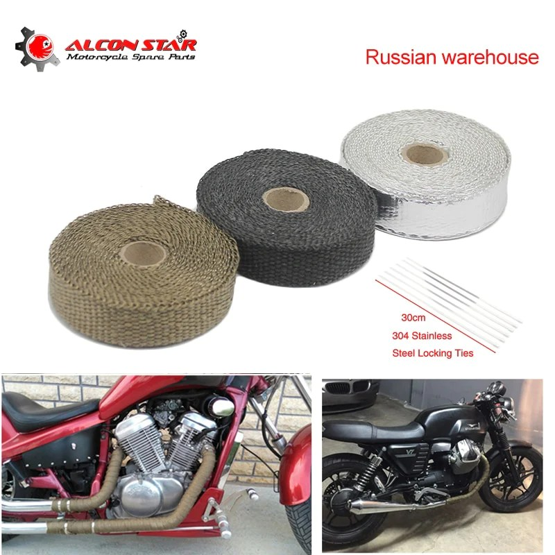 alconstar russian warehouse 5m 10m 15m thermal tape motorcycle exhaust pipe header heat resistant wrap tape with steel ties