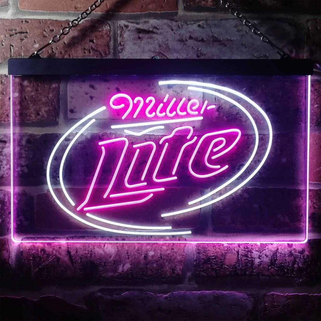 Miller Lite 2 Neon- Led Sign - Dual Color Safespecial