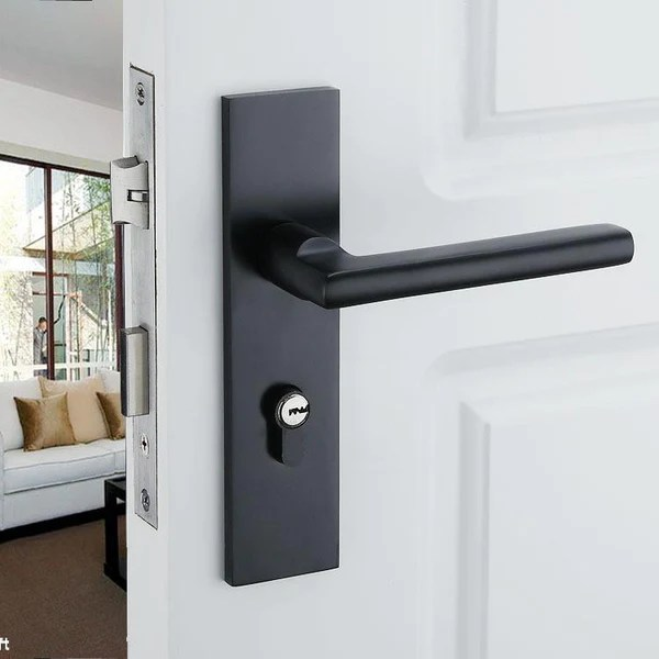 Black Solid Space Aluminum Door Locks Continental Bedroom