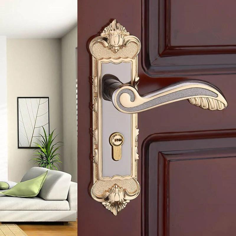 european modern interior room bedroom door handle locks amber