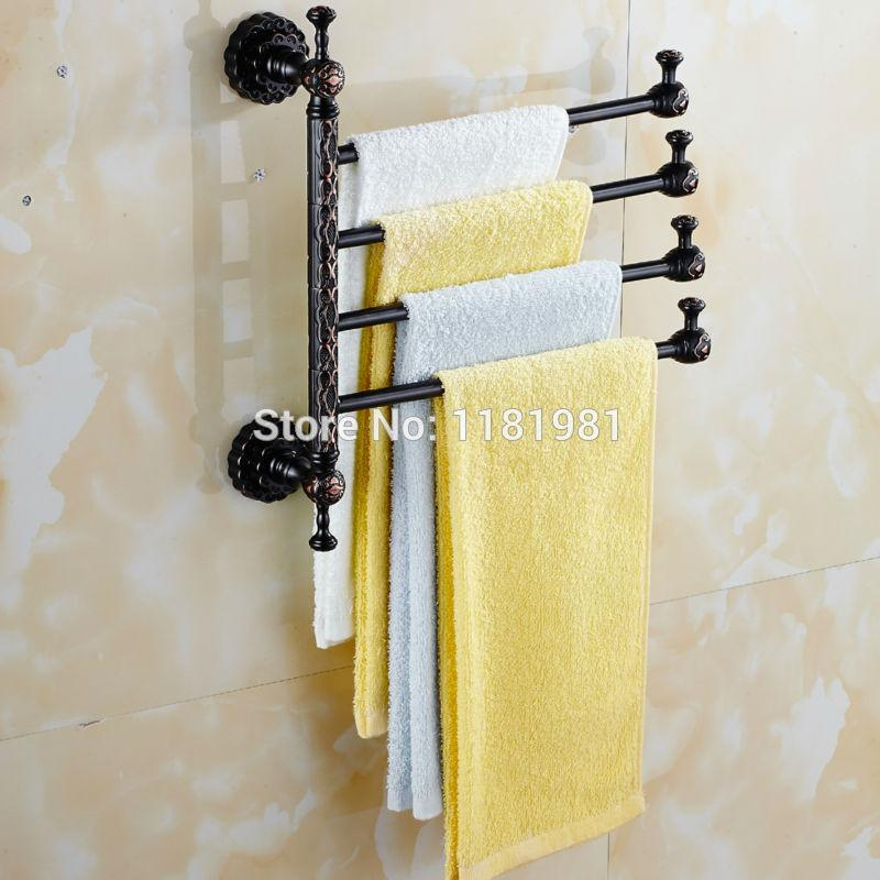 kitchen towel bars french table marble buy 4 arm black plated copper bar rotating rack bathroom holder hardware accessory i628 73 60 icon2