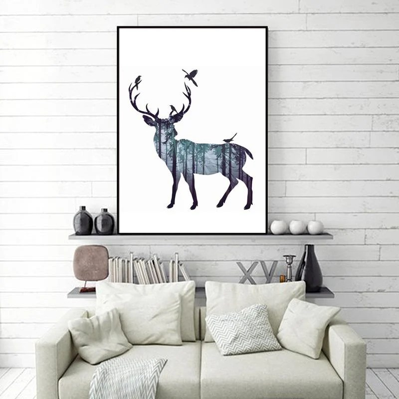 living room art decor grey brown carpet buy abstract wall pictures deer pine forest nordic natural decoration picture scandinavian canvas painting no frame 8 07 icon2