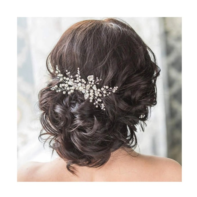 venusvi wedding crystal hair comb bridal hair accessories for brides and bridesmaids (silver)