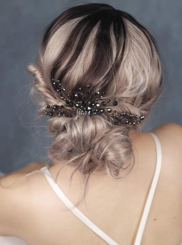 fxmimior bridal hair accessories black hair comb gothic wedding hair accessory black headpiece