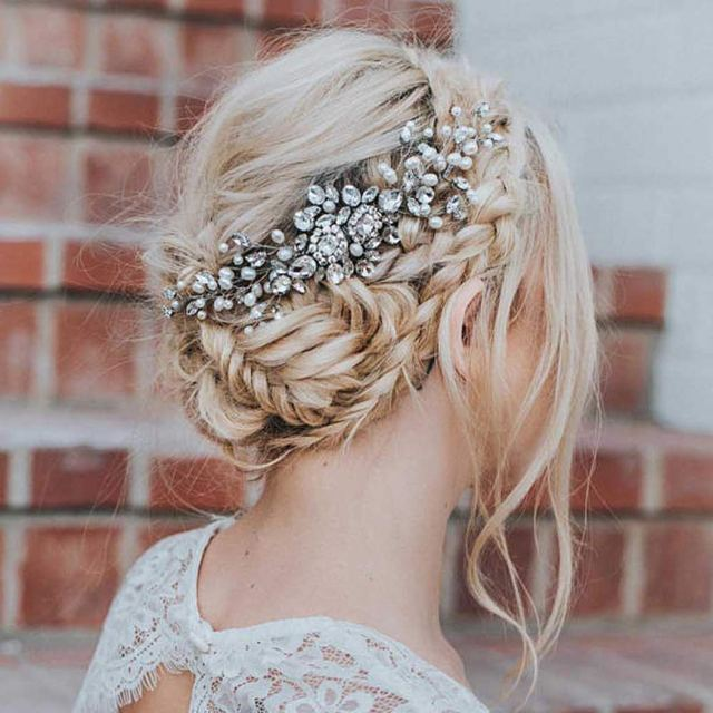 artio wedding hair comb hair accessories with crystal rhinestones for women (silver)