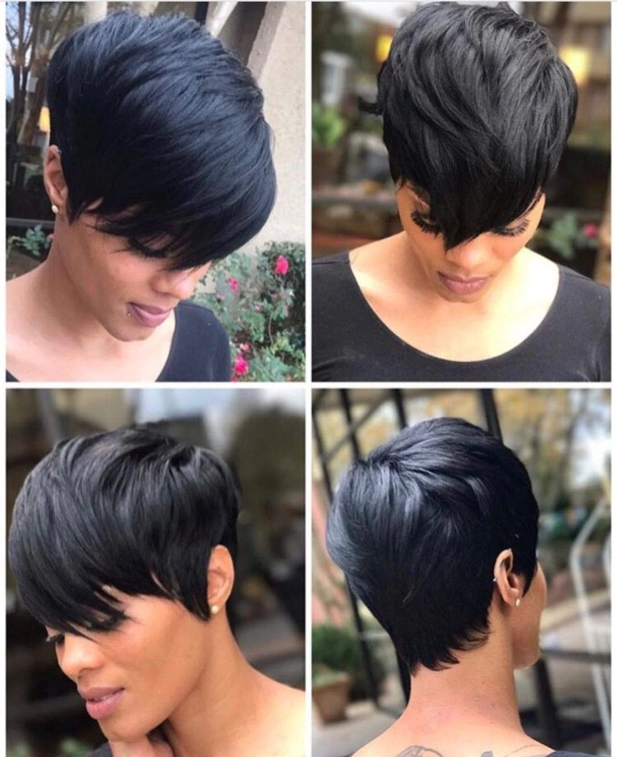 short pixie cut hair short black hairstyles synthetic wigs for women heat resistant hairpieces wo