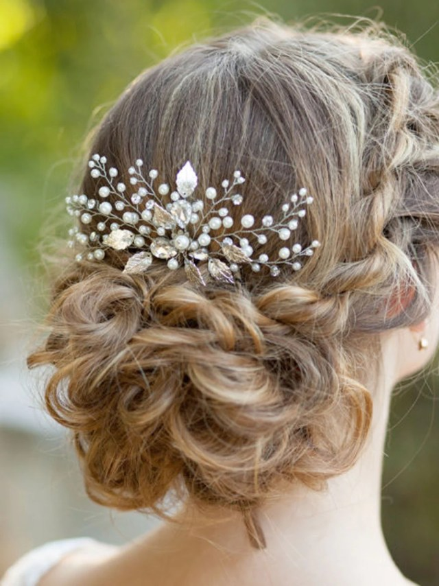 yean bridal hair combs wedding silver leaf hair comb for bride and bridesmaid (comb-001)