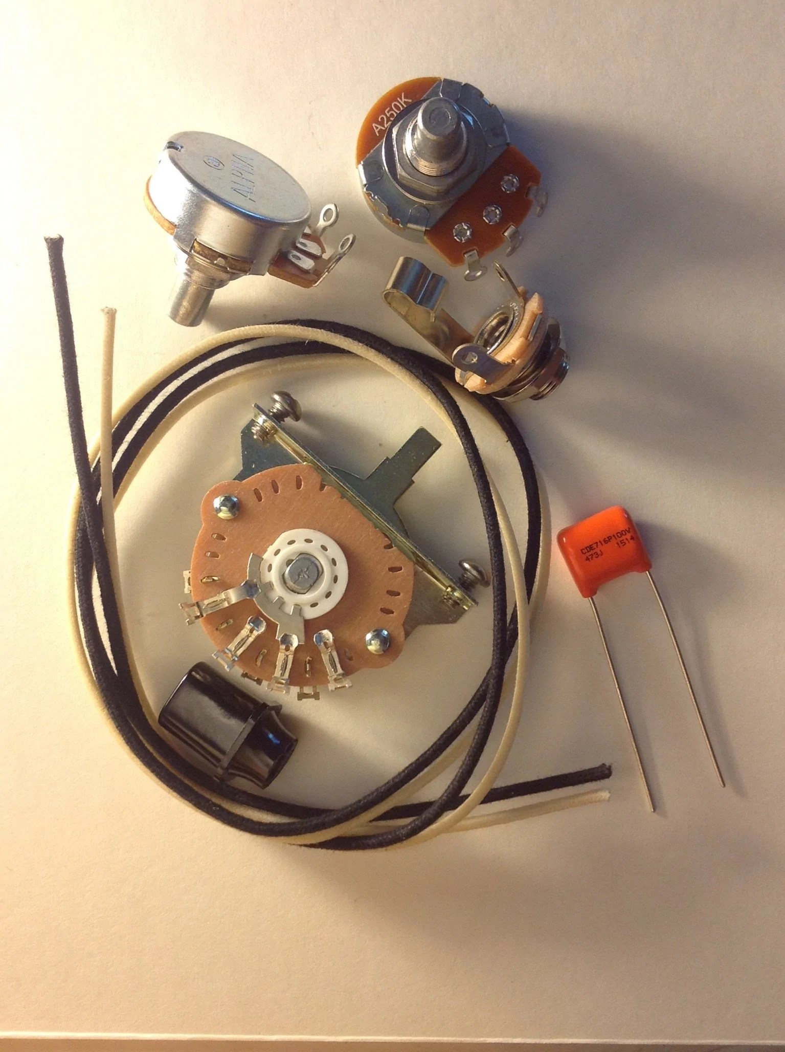 quality us spec wiring harness upgrade kit for telecaster 047uf orange drop cap [ 1535 x 2056 Pixel ]