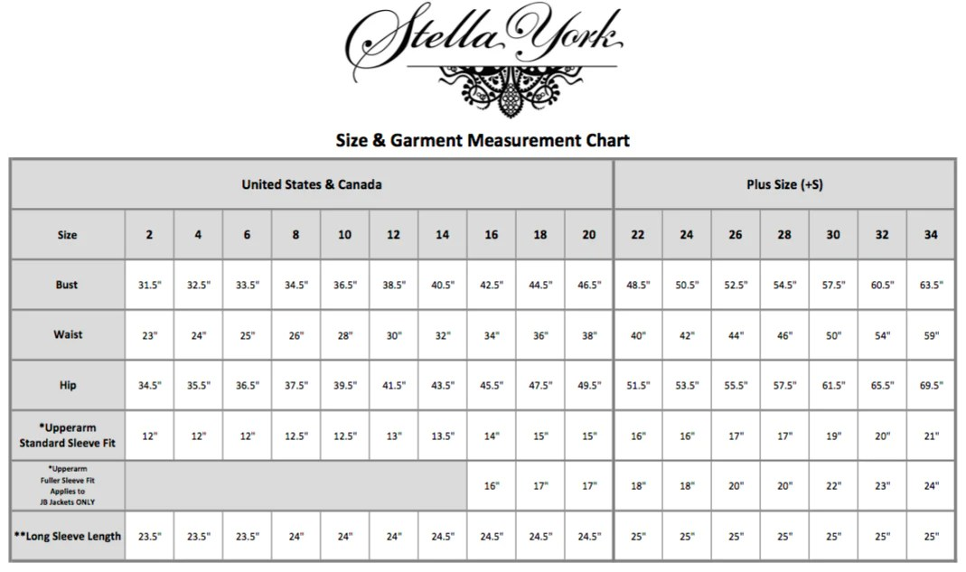Stella york size chart also  th avenue fashions rh thavenuefashions