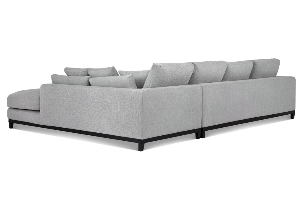 light brown tweed sofa black leather bed with cup holder capsule home kellan sectional