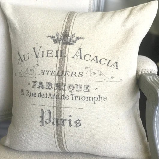 arc de triomphe vintage french graphic grain sack stripe pillow cover