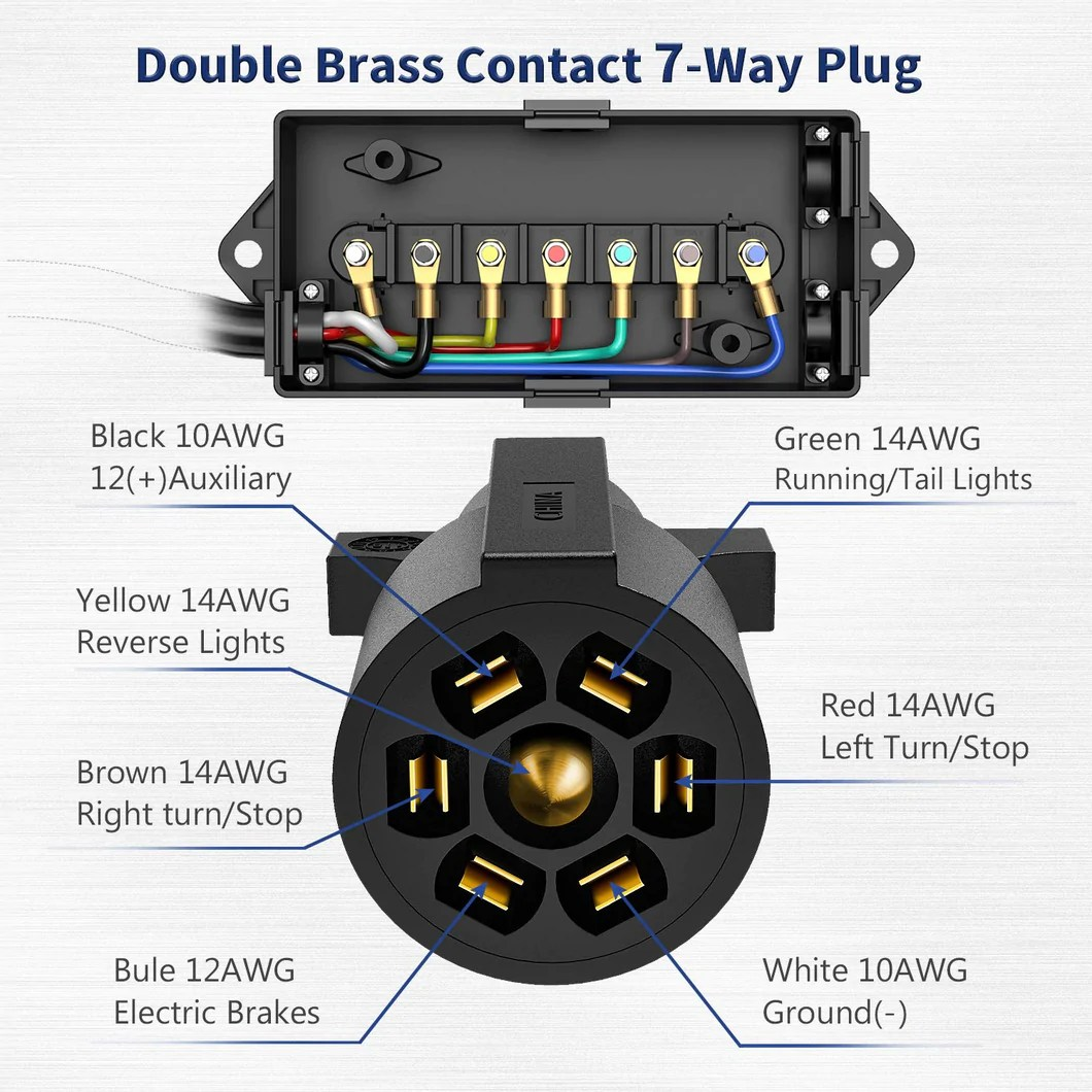 small resolution of kohree 7 way trailer plug cord with 7 gang waterproof junction box trailer connector cable