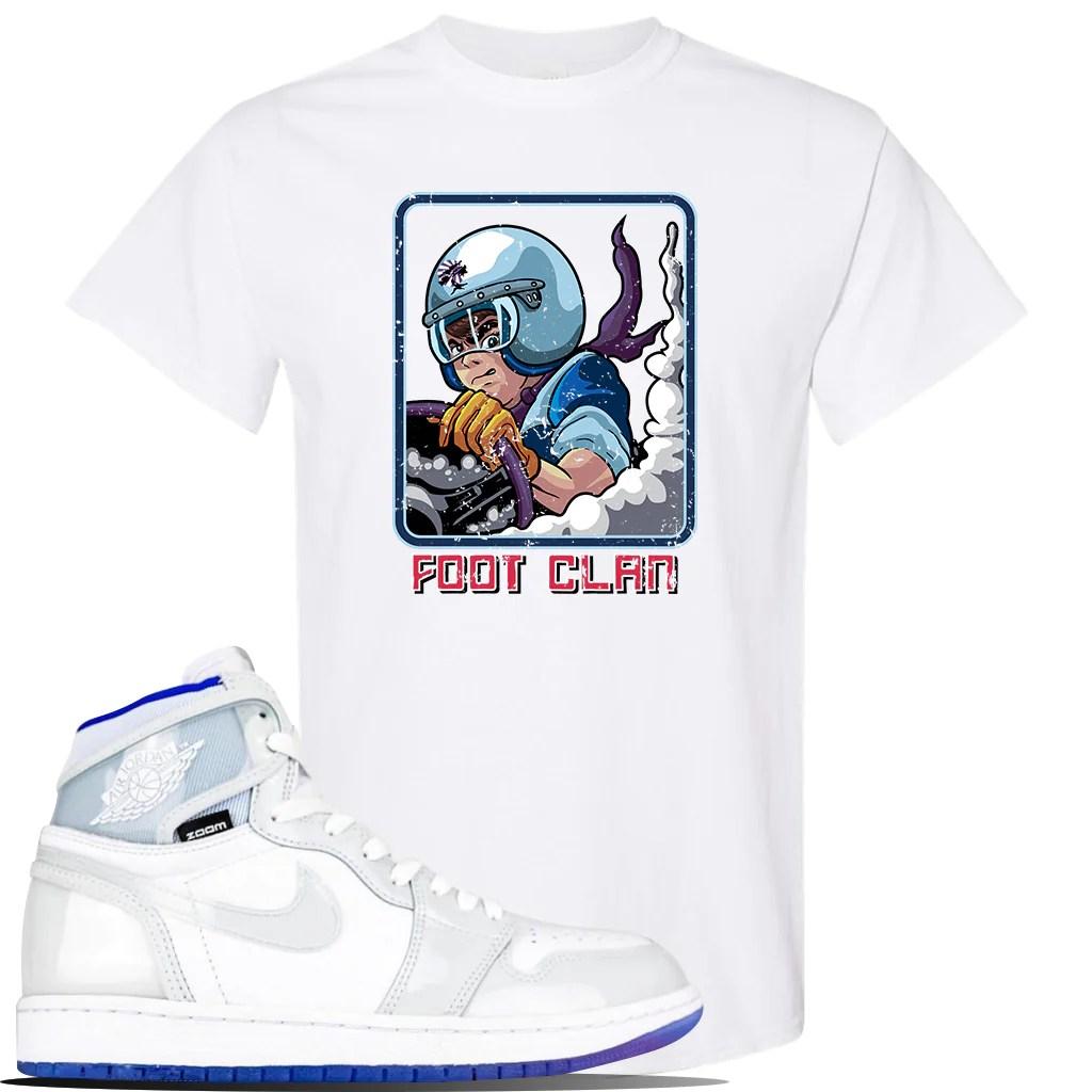 jordan 1 high zoom racer blue sneaker white t shirt tees to match air jordan 1 high zoom racer blue shoes bonsai racer