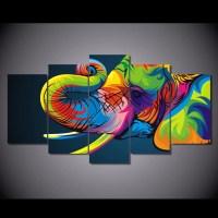 5 Piece art elephant Canvas  Home Wall Deco