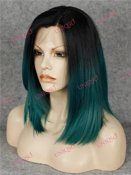 Premium Wig Ombre Black Amp Teal Green Lace Front Wig UNIQSO