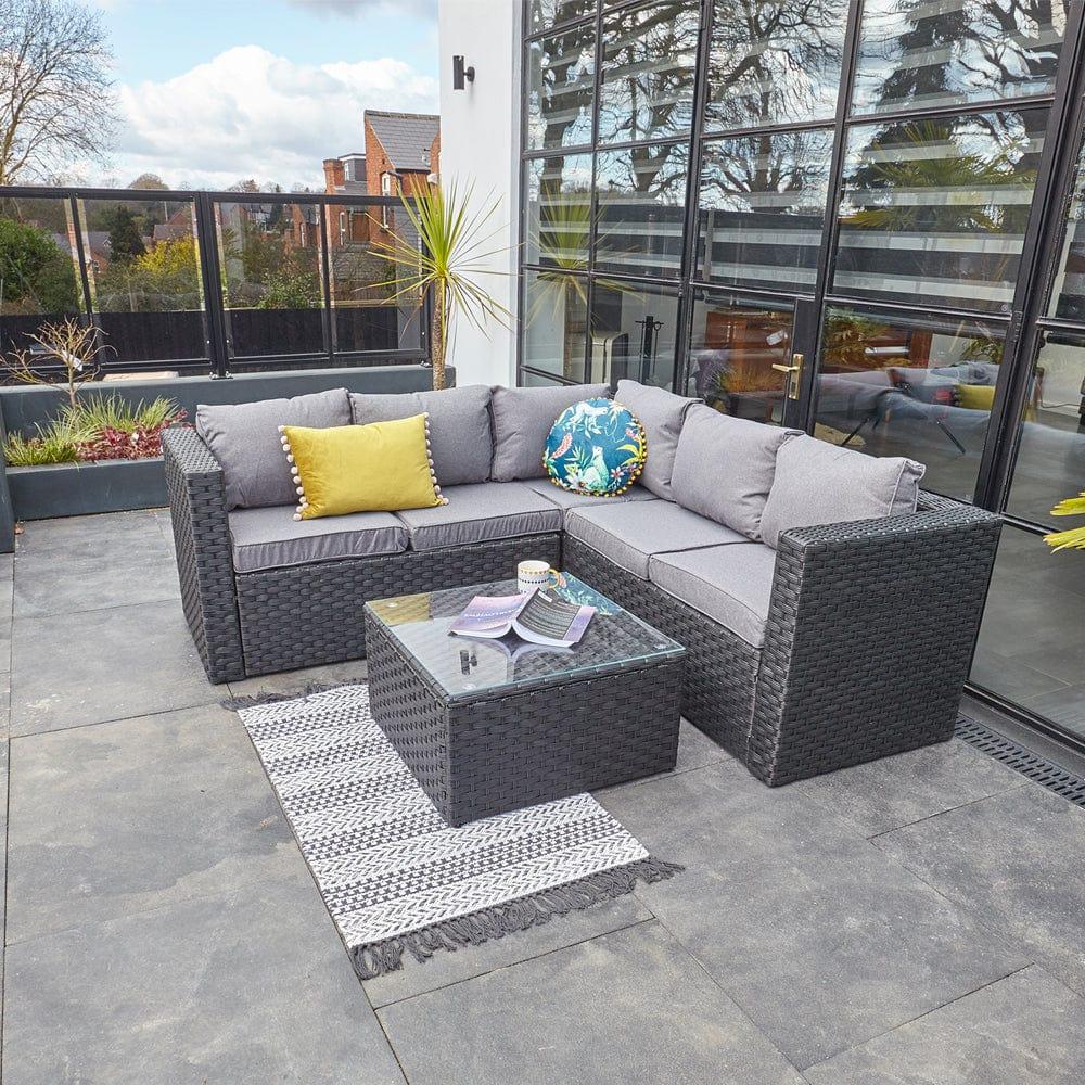 vancouver 5 seater black rattan corner sofa patio set