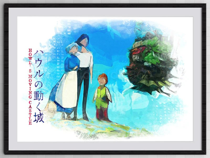 howl s moving castle poster inspired poster from hayao miyazaki s movie howl s moving digital painting print kid s room decor schiostudio360