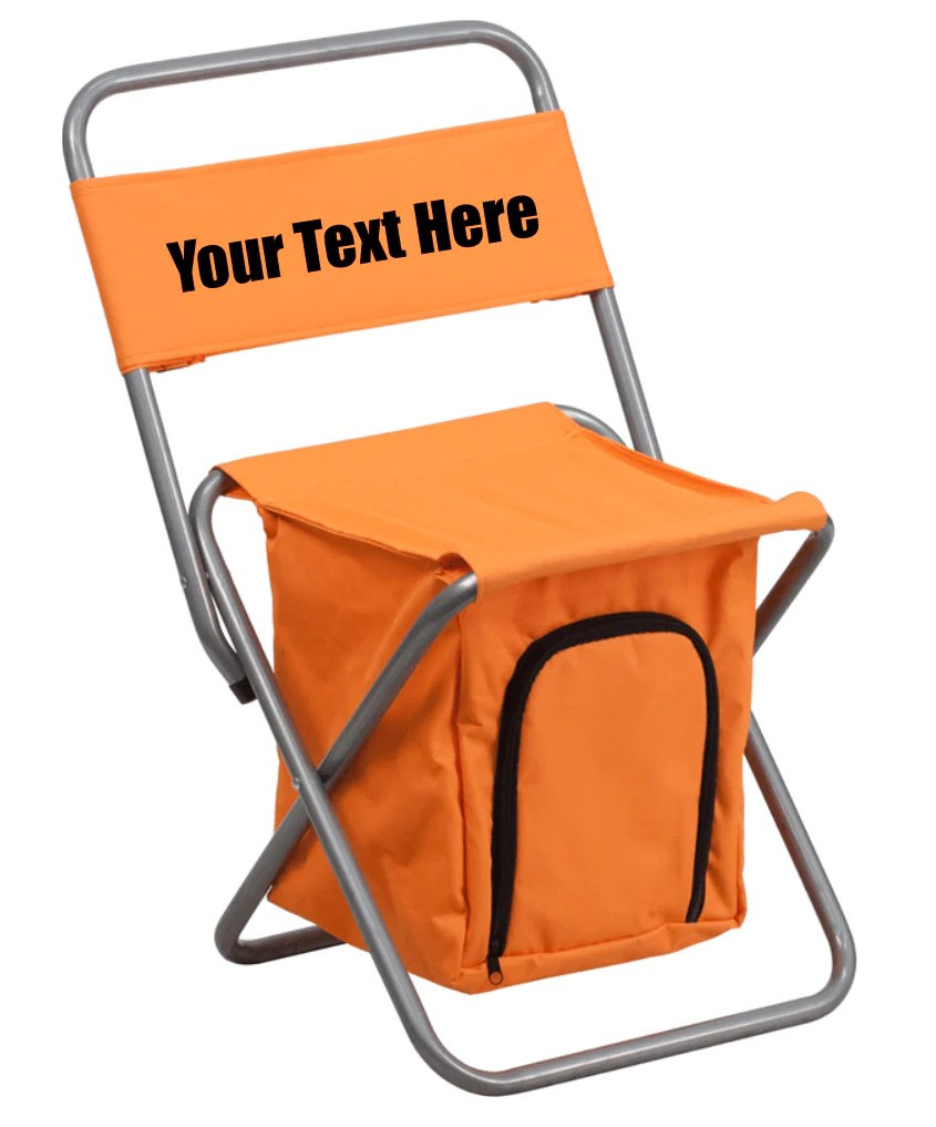 personalized folding chair stool for desk custom camping with insulated storage dg graphics