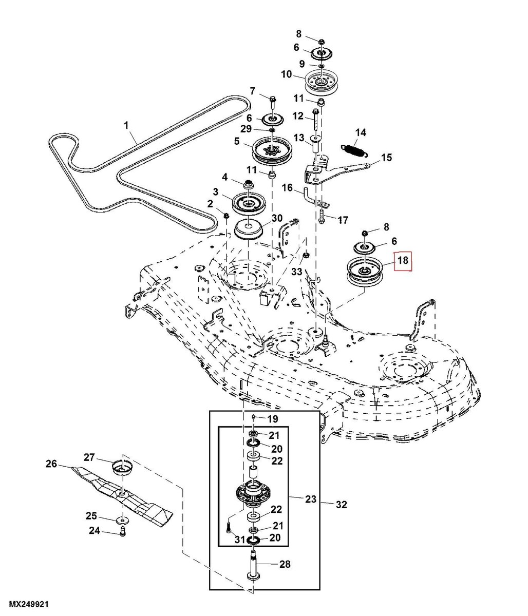 medium resolution of john deere zero turn mower deck idler pulley fits z425 u0026 z445 48 u0027