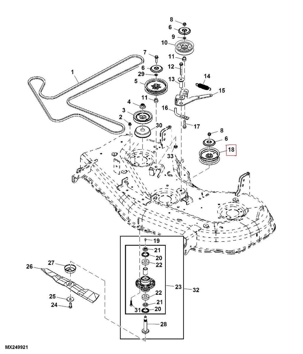 hight resolution of john deere zero turn mower deck idler pulley fits z425 u0026 z445 48 u0027