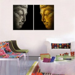 Modern Living Room Canvas Art What Size Rug Should I Put In My Buddha Profile Oil Painting Wall Decorative 2pcs