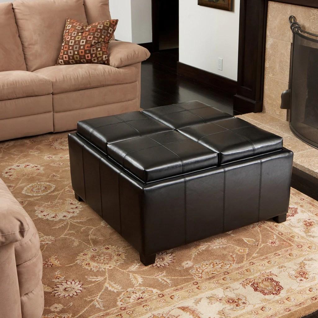 leather 4 tray top storage ottoman