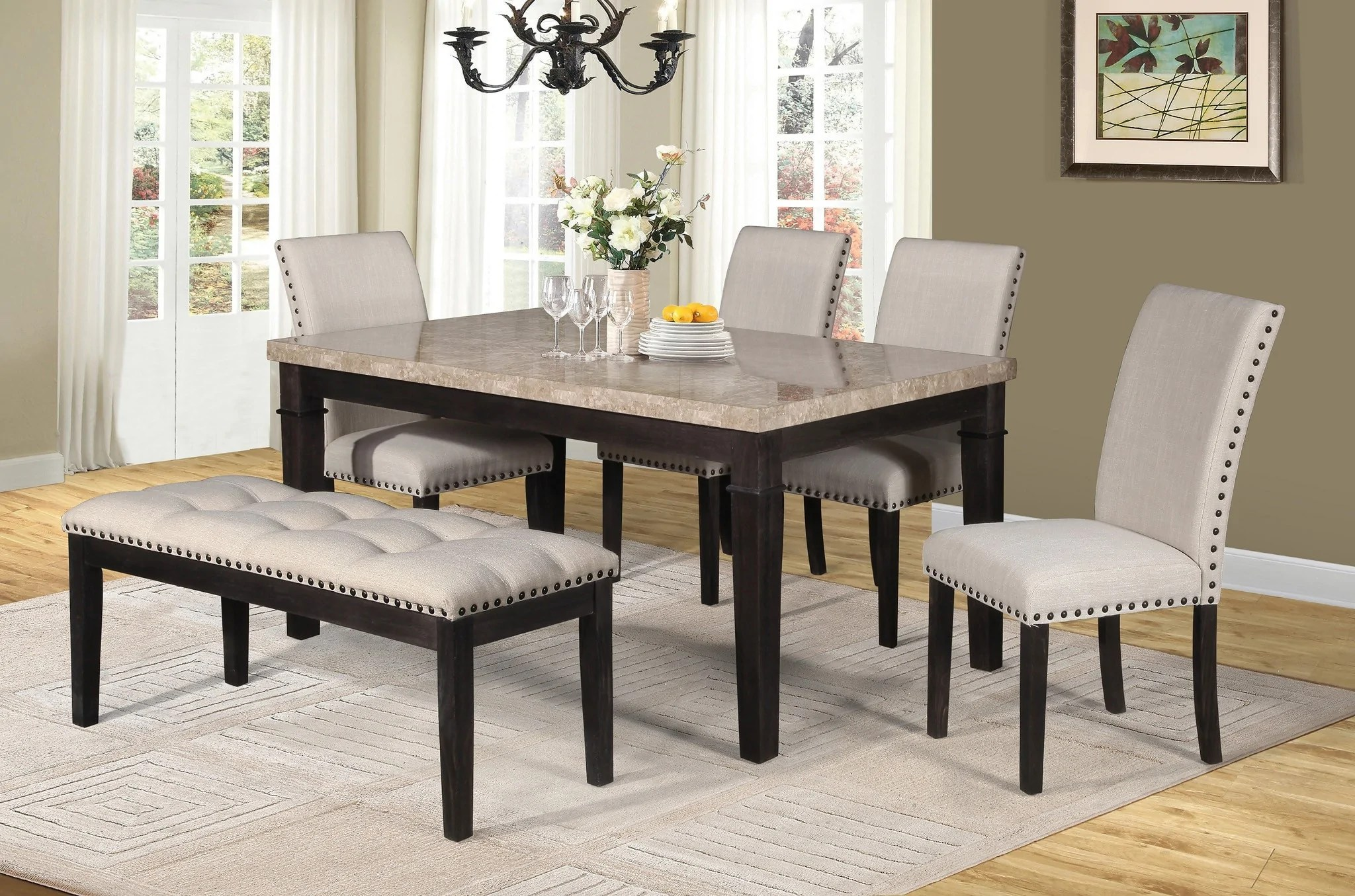 kitchen table set with bench sink kit sutton dining 4 chairs 6 pcs erica furnlander