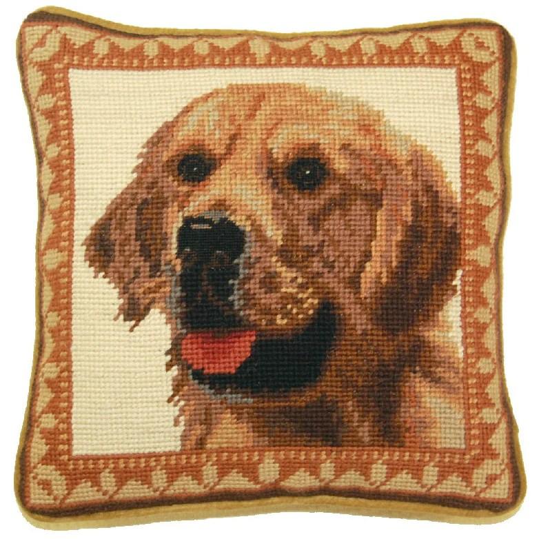 golden retriever needlepoint pillow