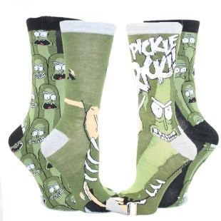 Pickle Rick Socks Unisex Crew Sock 2 Pack