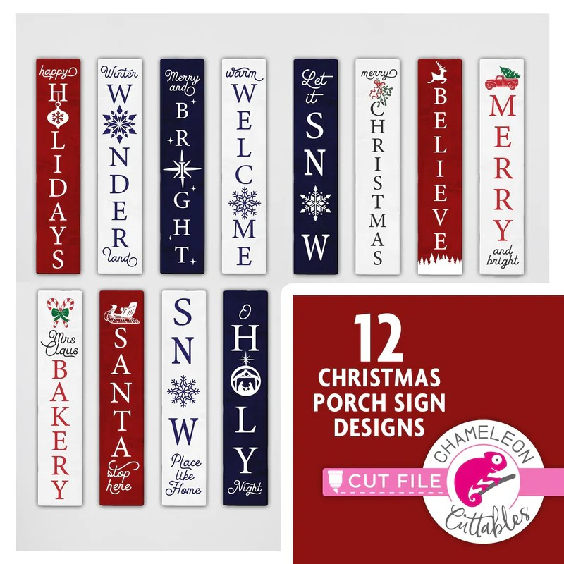 """Cricut design space, and silhouette designer edition, make the cut (mtc), sure cuts a lot (scal), and brother scan and cut """"canvas"""" Porch Signs Chameleon Cuttables Llc"""