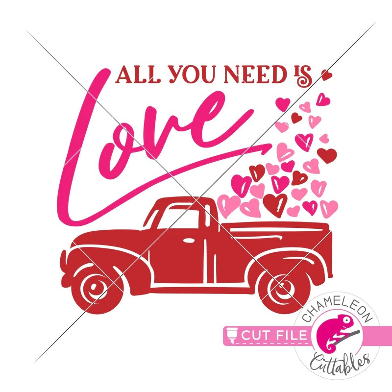 Download All you need is love truck Valentine's day svg png dxf eps ...