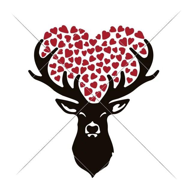 Download Deer with Hearts svg png dxf eps | Chameleon Cuttables LLC