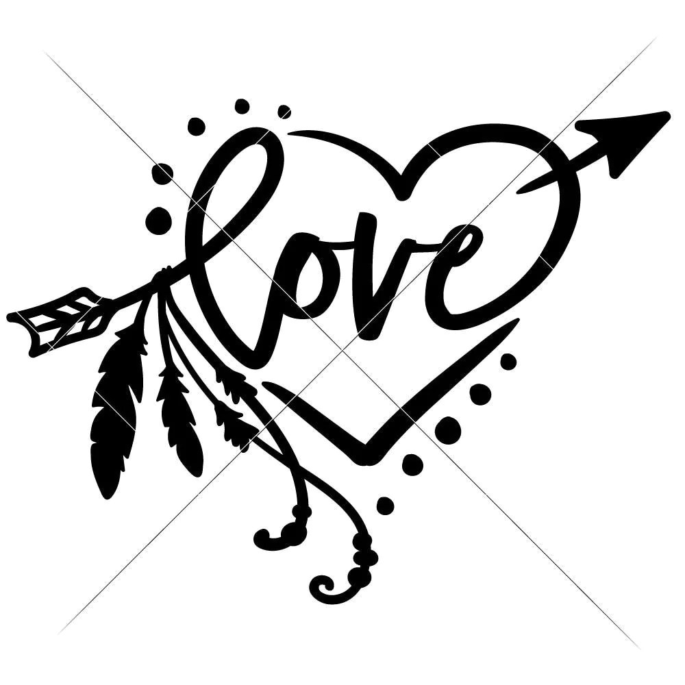 Download Love Arrow with Feathers and Heart svg png dxf eps ...